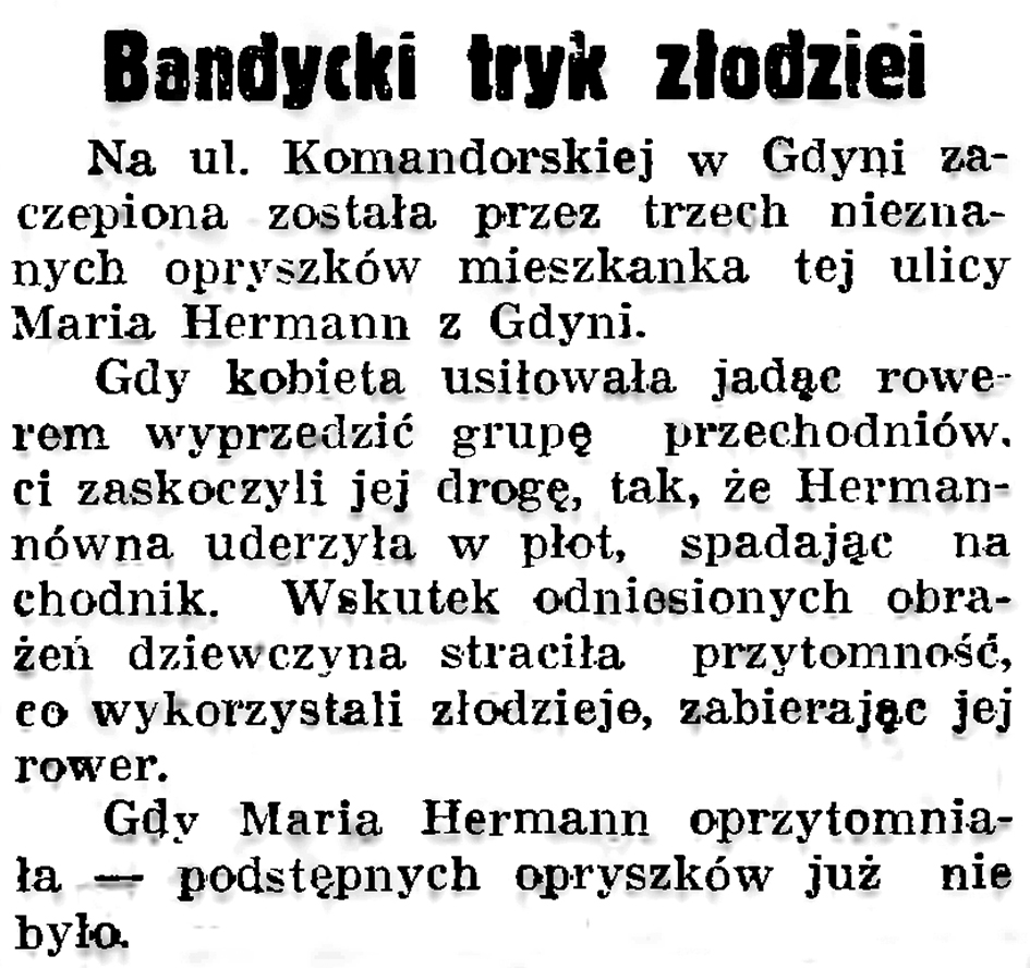 Bandycki tryk złodziei // Gazeta Gdańska. - 1937, nr 193, s. 6