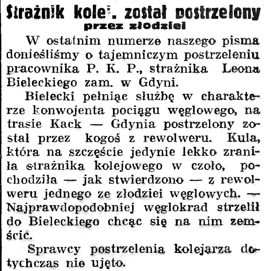 Strażnik kolej. został postrzelony przez złodziei // Gazeta Gdańska. - 1937, nr 193, s. 6
