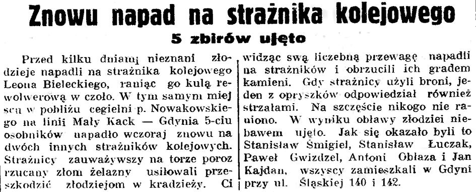 Znowu napad na strażnika kolejowego. 5 zbirów ujęto // Gazeta Gdańska. - 1937, nr 194, s. 8