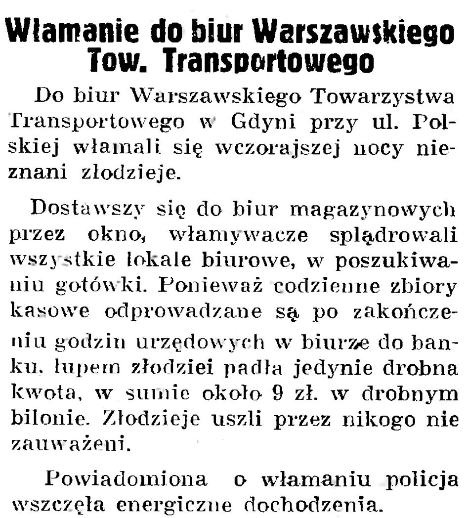 Włamanie do biur Warszawskiego Tow. Transportowego // Gazeta Gdańska. - 1937, nr 195, s. 8