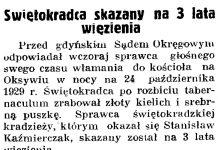 Świętokradca skazany na 3 lata więzienia // Gazeta Gdańska. - 1937, nr 196, s. 8