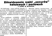"""Zlikwidowanie szajki """"szczurów"""" kolejowych i portowych. 7 osób w areszcie // Gazeta Gdańska. - 1937, nr 196, s. 8"""