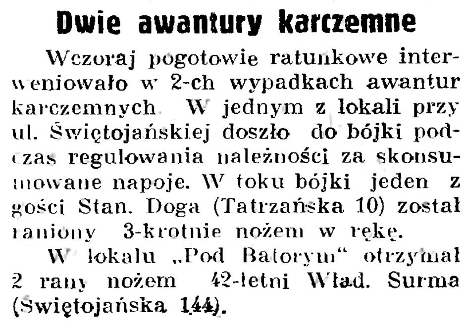 Dwie awantury karczemne // Gazeta Gdańska. - 1937, nr 196, s. 8