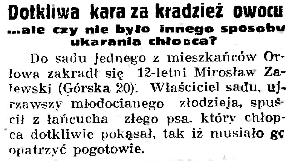 Dotkliwa kara za kradzież owocu ... ale czy nie było innego sposobu ukarania chłopca // Gazeta Gdańska. - 1937, nr 196, s. 8
