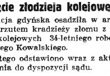 Ujęcie złodzieja kolejowego // Gazeta Gdańska. - 1990, nr 198, s. 11