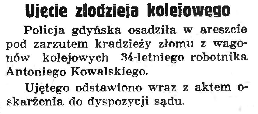 Ujęcie złodzieja kolejowego // Gazeta Gdańska. - 1937, nr 198, s. 11