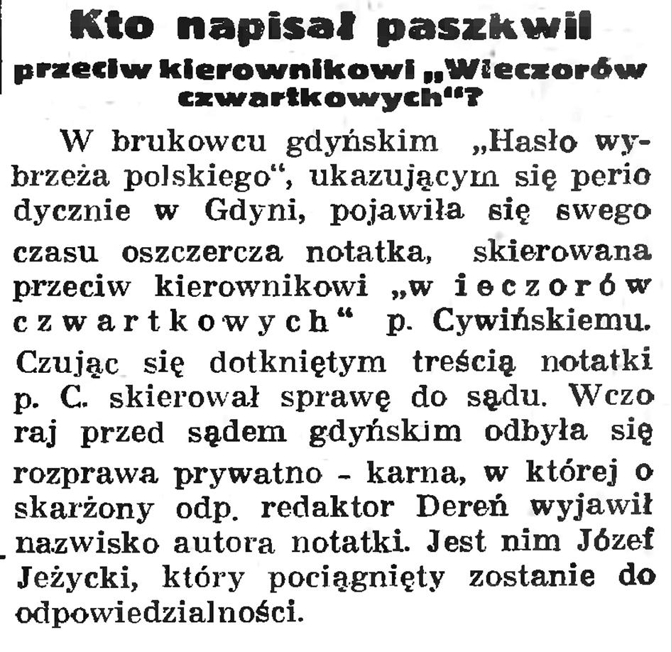 """Kto napisał paszkwil przeciw kierownikowi """"Wieczorów czwartkowych""""? // Gazeta Gdańska. - 1937, nr 198, s. 11"""