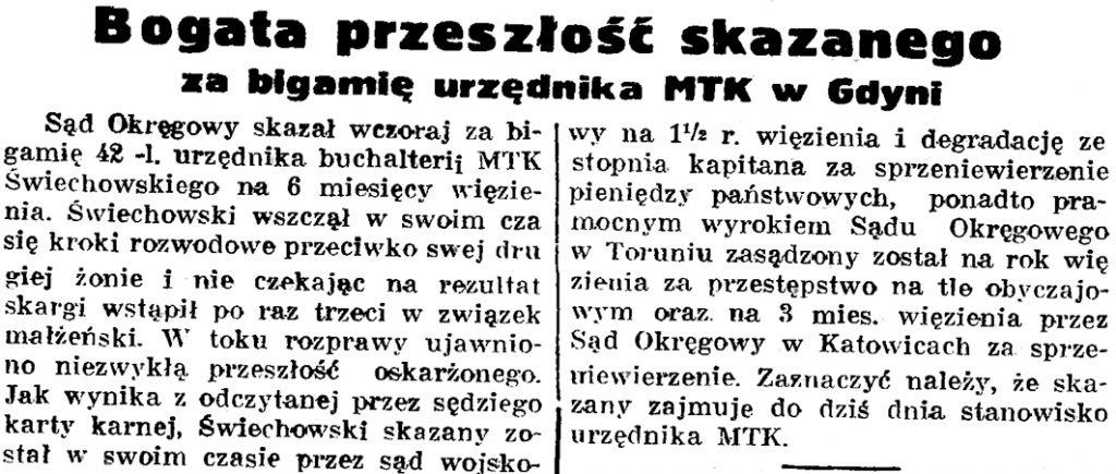 Bogata przeszłość skazanego za bigamię urzędnika MTK w Gdyni // Gazeta Gdańska. - 1937, nr 200, s. 8
