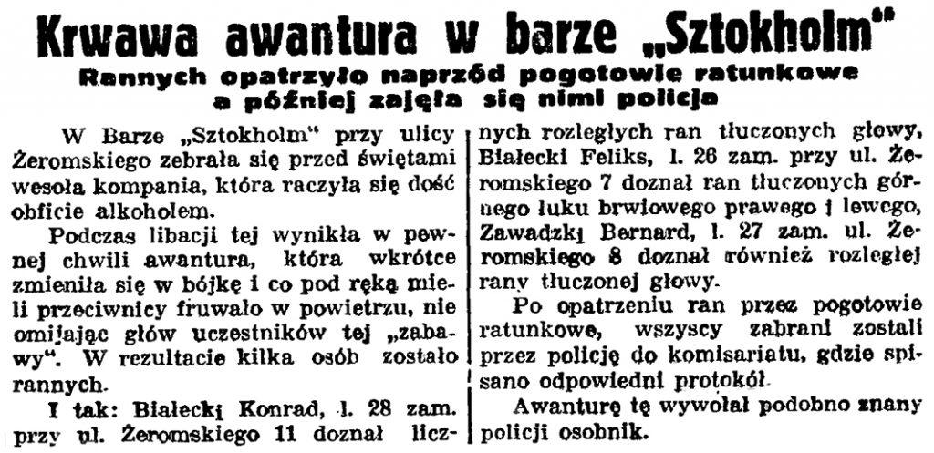 """Krwawa awantura w barze """"Sztokholm"""". Rannych opatrzyło naprzód pogotowie ratunkowe a później zajęła się nimi policja // Gazeta Gdańska. - 1937, nr 297, s. 6"""