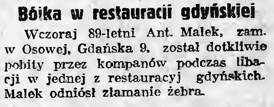 Bójka w restauracji gdyńskiej // Gazeta Gdańska. - 1937, nr 208, s. 2