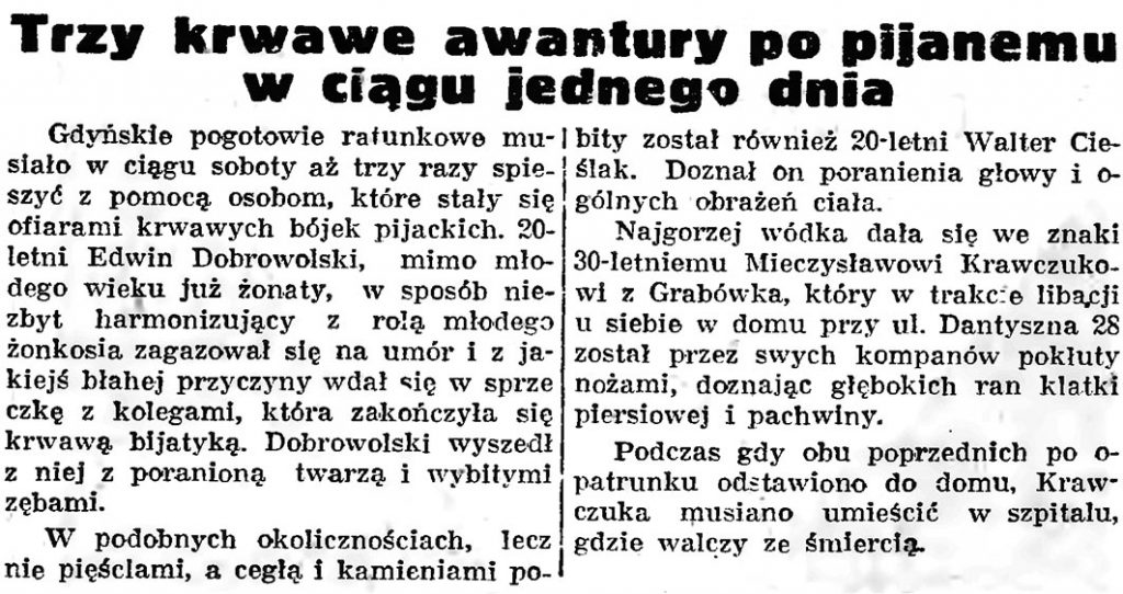 Trzy krwawe awantury po pijanemu w ciągu jednego dnia // Gazeta Gdańska. - 1939, 140, s. 8