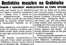 Bestialska masakra na Grabówku. Człowiek z wyprutymi wnętrznościami na bruku ulicznym // Gazeta Gdańska. - 1938, nr 223, s. 7