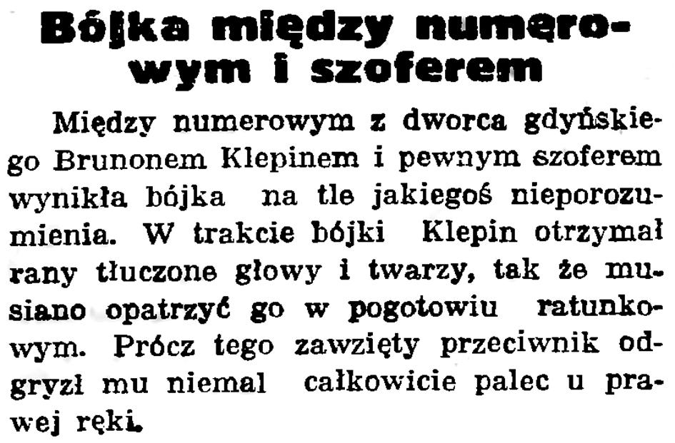 Bójka między numerowym a szoferem // Gazeta Gdańska. - 1938, nr 223, s. 7