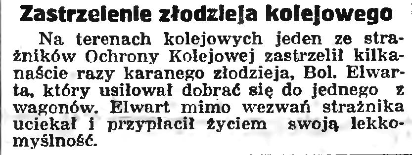 Zastrzelenie złodzieja kolejowego // Gazeta Gdańska. - 1939, nr 114, s. 7