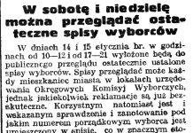 W sobotę i niedzielę można oglądać ostateczne spisy wyborców // Gazeta Gdańska. - 1939, nr 11, s. 7