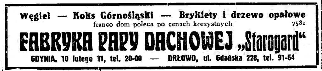 """FABRYKA PAPY DACHOWEJ """"Starogard""""   GDYNIA, 10 lutego 11, tel. 20-00"""