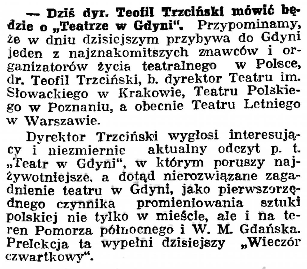 """Dziś dyr. Teofil Trzciński mówić będzie o """"Teatrze w Gdyni"""" // Gazeta Gdańska. - 1939, nr 16, s. 7"""