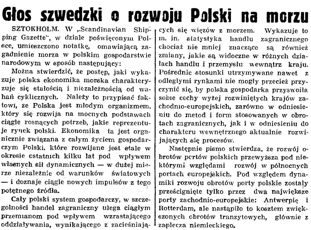 Głos szwedzki o rozwoju Polski na morzu // Gazeta Gdańska. - 1939, nr 17, s. 5