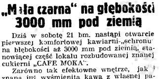 """""""Mała czarna"""" na głębokości 3000 mm pod ziemią // Gazeta Gdańska. - 1939, nr 18, s. 12"""