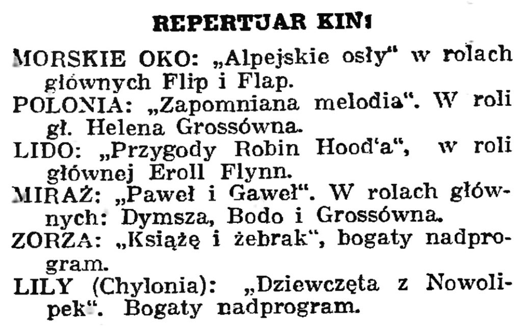 Repertuar kin // Gazeta Gdańska. - 1939, nr 18, s. 12