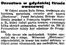 Oszustwo w gdyńskiej firmie owocowej // Gazeta Gdańska. - 1938, nr 18, s. 12