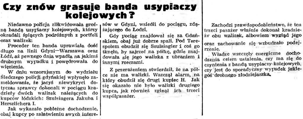 Czy znów grasuje banda usypiaczy kolejowych? // Gazeta Gdańska. - 1939, nr 18, s. 12