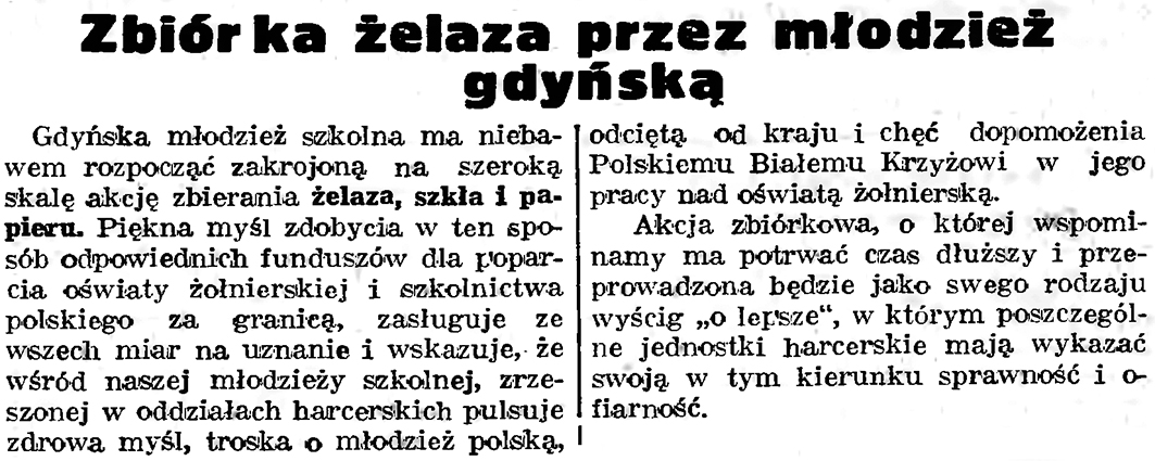 Zbiór żelaza przez młodzież gdyńską // Gazeta Gdańska. - 1939, nr 18, s. 12