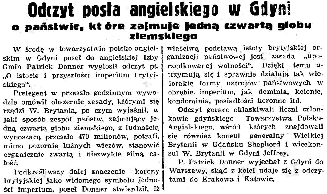 Odczyt posła angielskiego w Gdyni o państwie, które zajmuje jedną czwartą globu ziemskiego // Gazeta Gdańska. - 1939, nr 18, s. 12