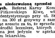 Za niedozwoloną sprzedaż środków leczniczych // Gazeta Gdańska. - 1938, nr 18, s. 12