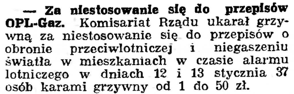 Za niestosowanie się do przepisów OPL-Gaz. // Gazeta Gdańska. - 1939, nr 18, s. 12