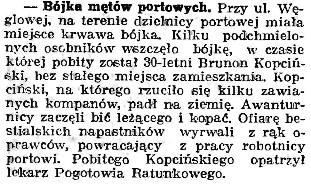 Bójka mętów portowych // Gazeta Gdańska. - 1939, nr 18, s. 12