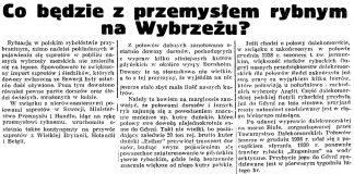 Co będzie z przemysłem rybnym na Wybrzeżu? // Gazeta Gdańska. - 1939, nr 19, s. 6