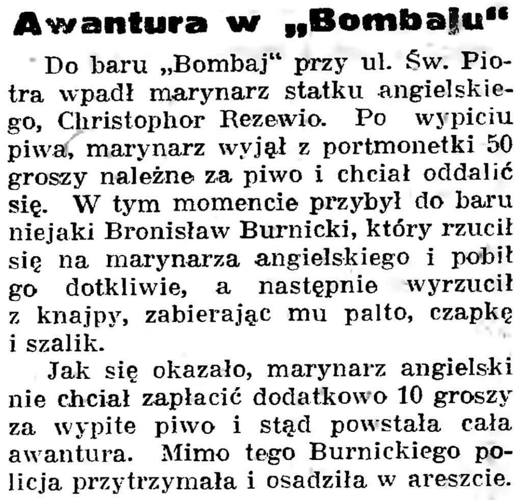 """Awantura w """"Bombaju"""" // Gazeta Gdańska. - 1939, nr 19, s. 6"""