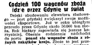 Codzień 100 wagonów zboża idzie przez Gdynię w świat // Gazeta Gdańska. - 1939, nr 19, s. 6