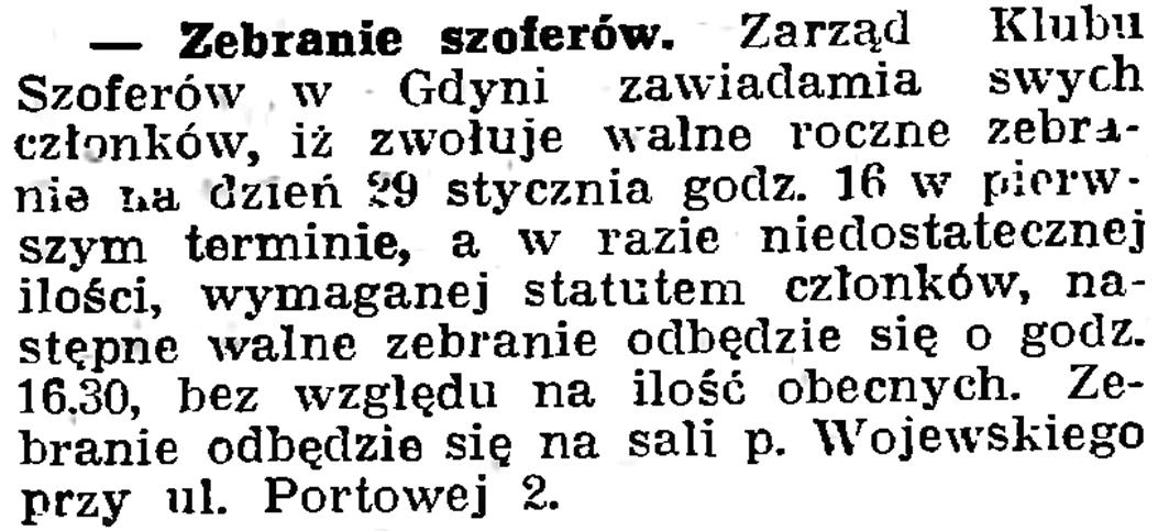 Zebranie szoferów // Gazeta Gdańska. - 1939, nr 19, s. 6