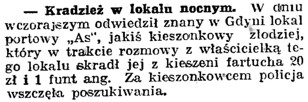 Kradzież w lokalu nocnym // Gazeta Gdańska. - 1939, nr 19, s. 6