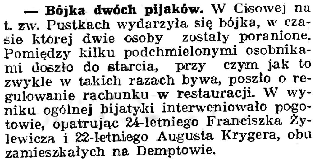 Bójka dwóch pijaków // Gazeta Gdańska. - 1939, nr 19, s. 6
