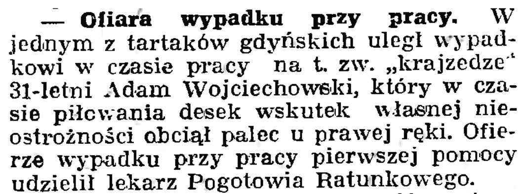 Ofiara wypadku przy pracy // Gazeta Gdańska. - 1939, nr 19, s. 6