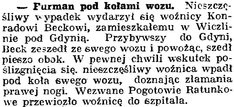 Furman pod kołami wozu // Gazeta Wyborcza. - 1939, nr 19, s. 6