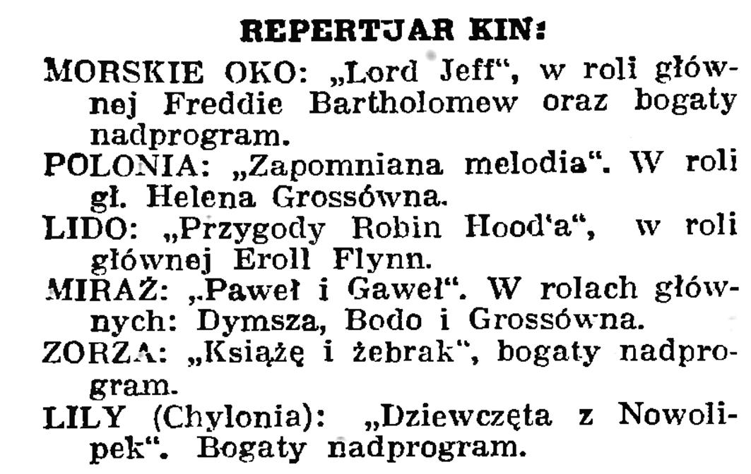 Repertuar kin // Gazeta Gdańska. - 1939, nr 19, s. 6