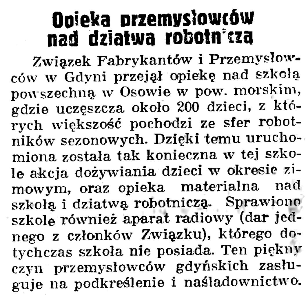 Opieka przemysłowców nad  dziatwą robotniczą // Gazeta Gdańska. - 1939, nr 19, s. 6