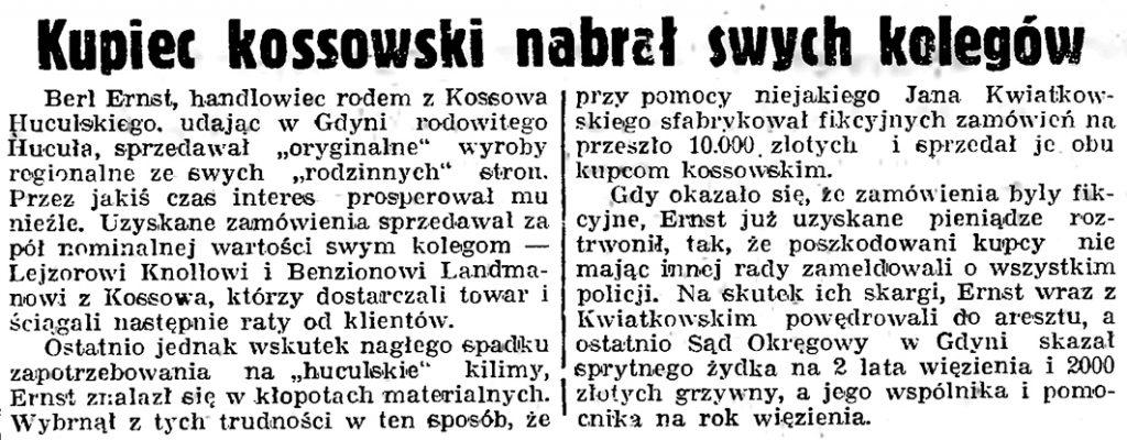 Kupiec kossowski nabrał swych kolegów // Gazeta Gdańska. - 1939, nr 19, s. 6