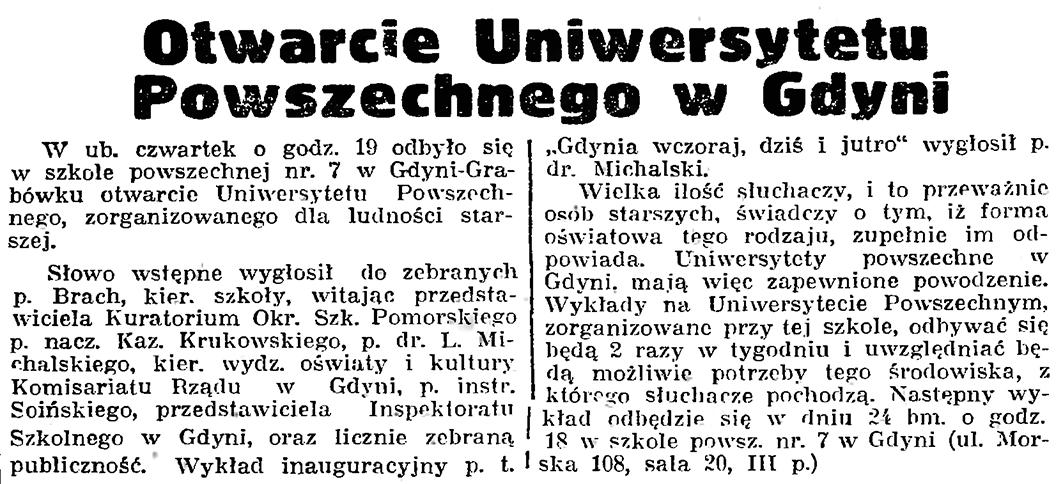 Otwarcie Uniwersytetu Powszechnego w Gdyni // Gazeta Gdańska. - 1939, nr 19, s. 7