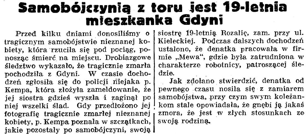 Samobójczynią z toru jest 19-letnia mieszkanka Gdyni // Gazeta Gdańska. - 1939, nr 18, s. 12