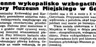 Cenne wykopalisko wzbogaciło zbiory Muzeum Miejskiego w Gdyni // Gazeta Gdańska. - 1939, nr 1, s. 5