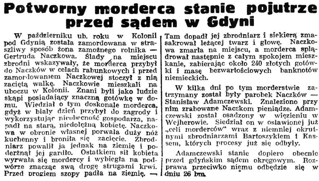 Potworny morderca stanie pojutrze przed sądem w Gdyni // Gazeta Gdańska. - 1939, nr 20, s. 1