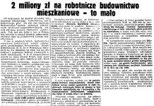 2 miliony zł na robotnicze budownictwo mieszkaniowe - to mało // Gazeta Gdańska. - 1939, nr 20, s. 7