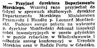 Przyjazd dyrektora Departamentu Morskiego // Gazeta Gdańska. - 1939, nr 20, s. 7