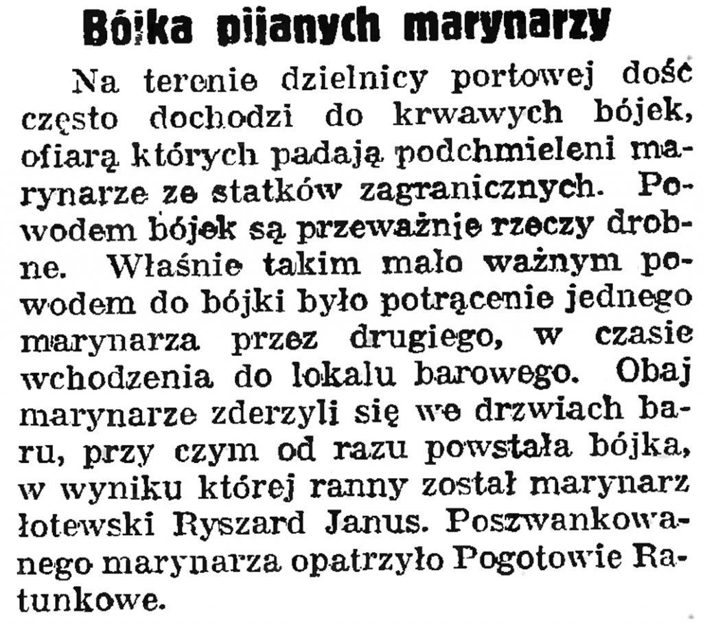 Bójka pijanych marynarzy // Gazeta Gdańska. - 1939, nr 21, s. 7