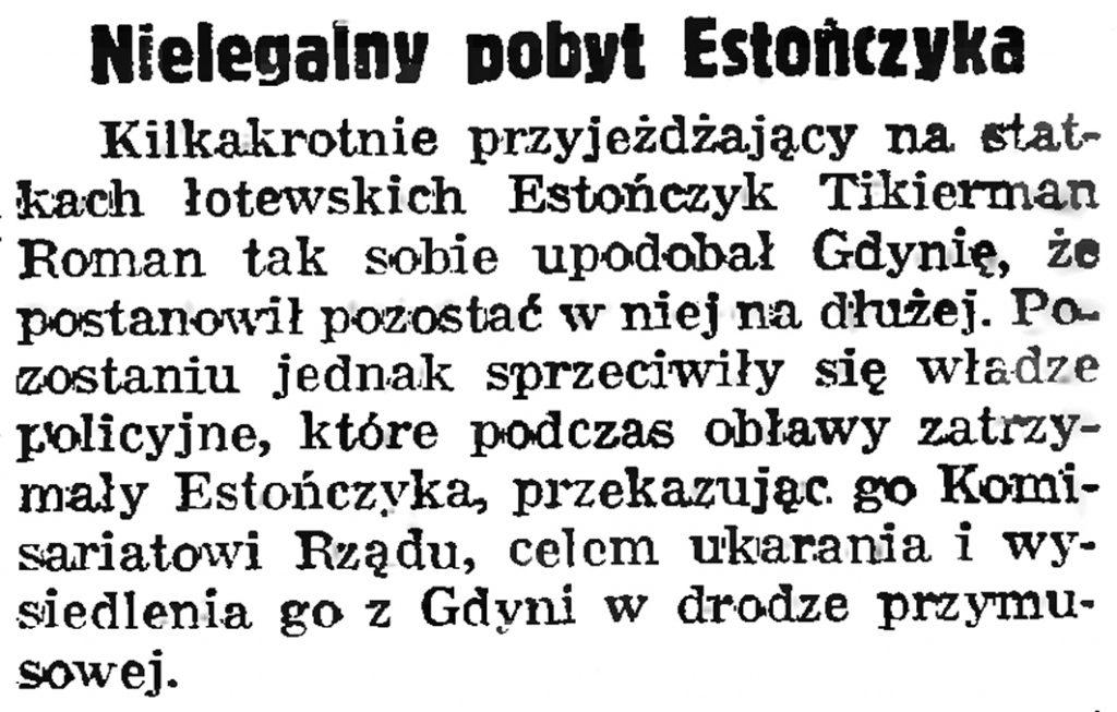 Nielegalny pobyt Estończyka // Gazeta Gdyńska. - 1939, nr 21, s. 7